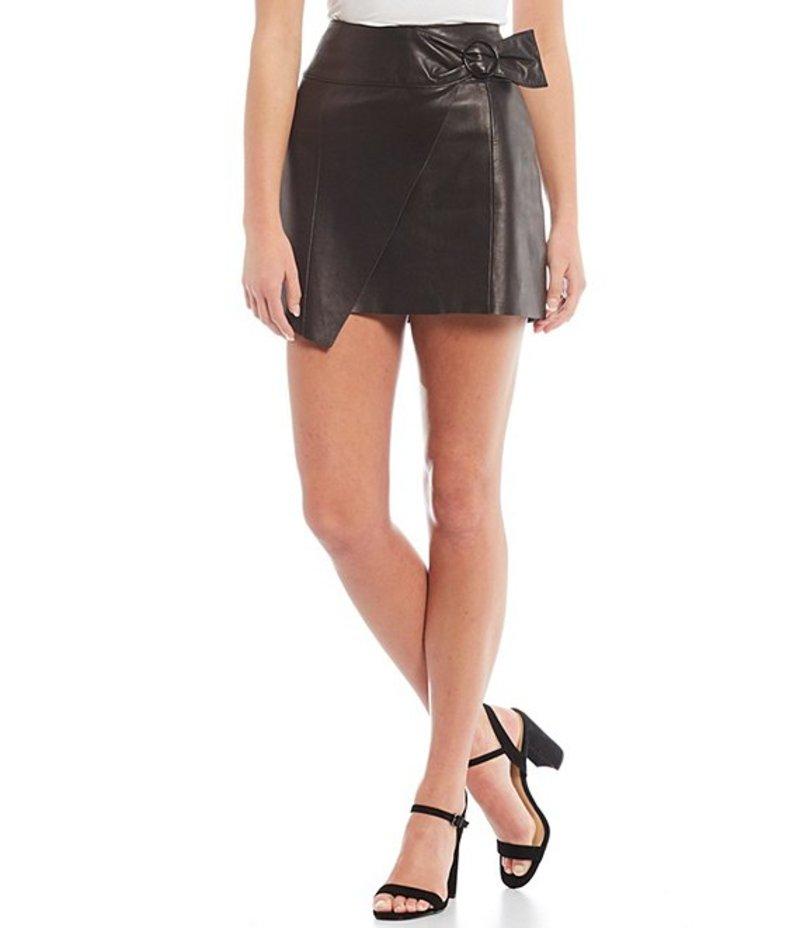 ジャンビニ レディース スカート ボトムス Genuine Leather Patty Belt Detail Wrap Skirt Black