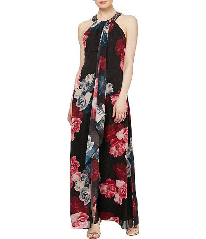 イグナイト レディース ワンピース トップス Chiffon Floral Print Beaded Halter Maxi Dress Black Multi