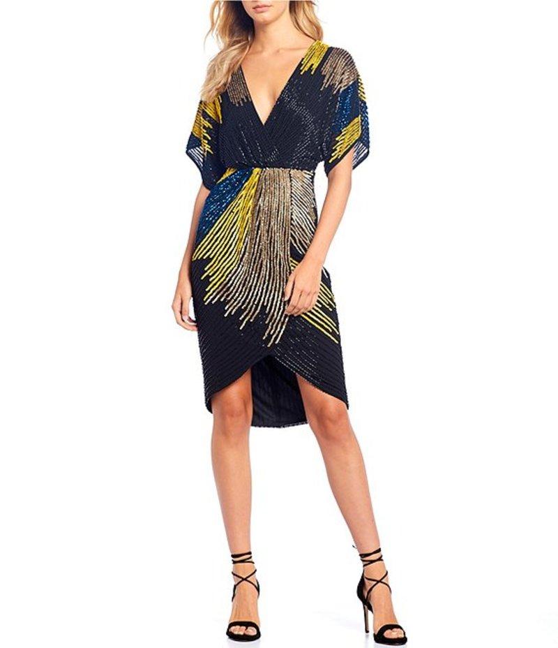 ジャンビニ レディース ワンピース トップス Bridget Beaded Colorblock Asymmetrical Kimono Sleeve Hi-Low A-Line Dress Black Multi