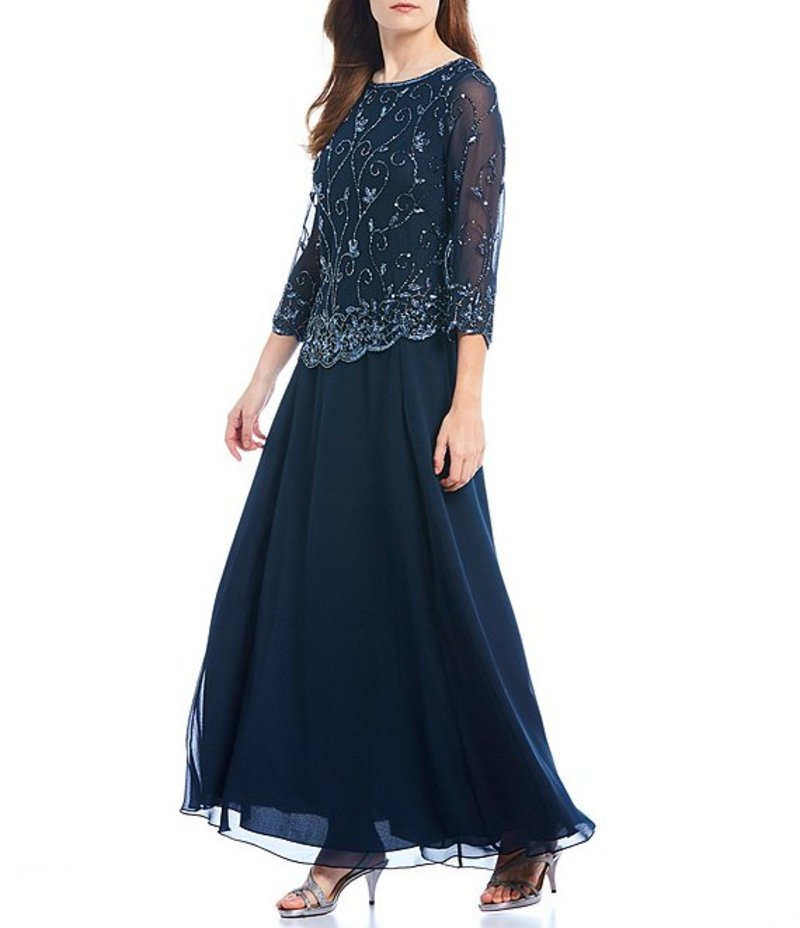 ジェーカラ レディース ワンピース トップス Round Neck Beaded Scallop Bodice Hem Chiffon Gown Navy/Mercury/Gunmetal