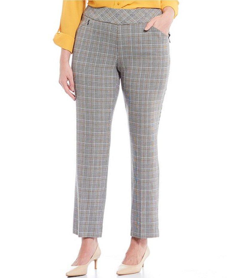 インベストメンツ レディース カジュアルパンツ ボトムス Plus Size the PARK AVE fit Pull-On Straight Leg Plaid Pant with Pockets Gold Stitch Plaid