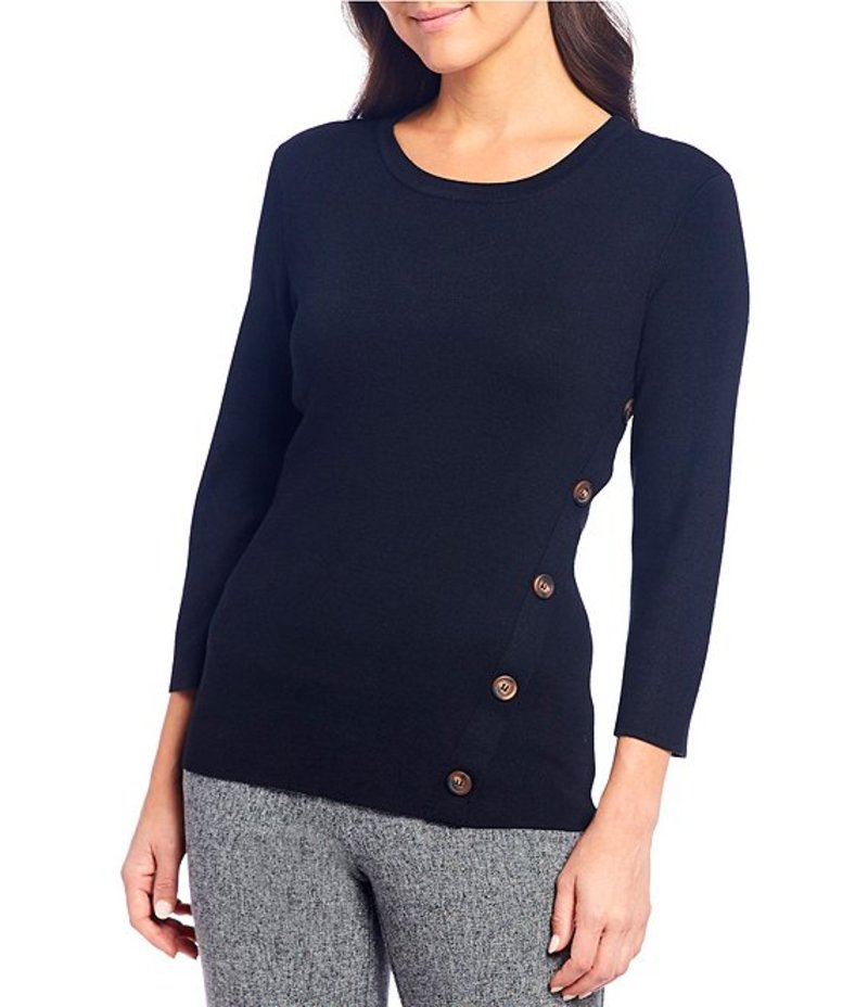 インベストメンツ レディース Tシャツ トップス Petite Size Button Detail Crew Neck Knit Top Black