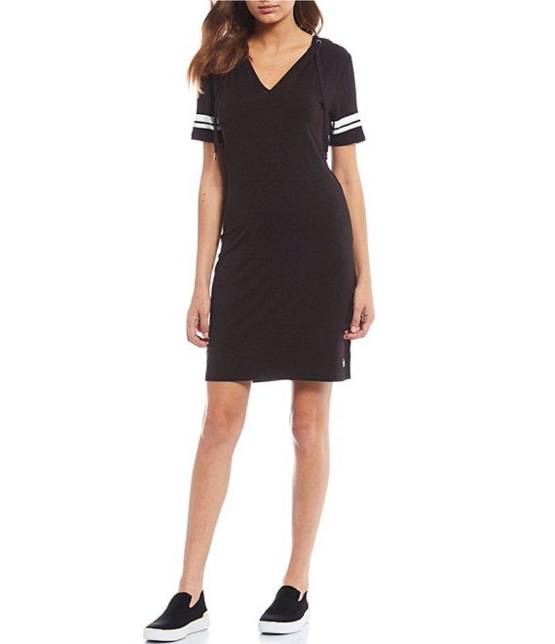 マイケルコース レディース ワンピース トップス Stretch Knit Jersey Stripe Sleeve Trim Hoodie Dress Black