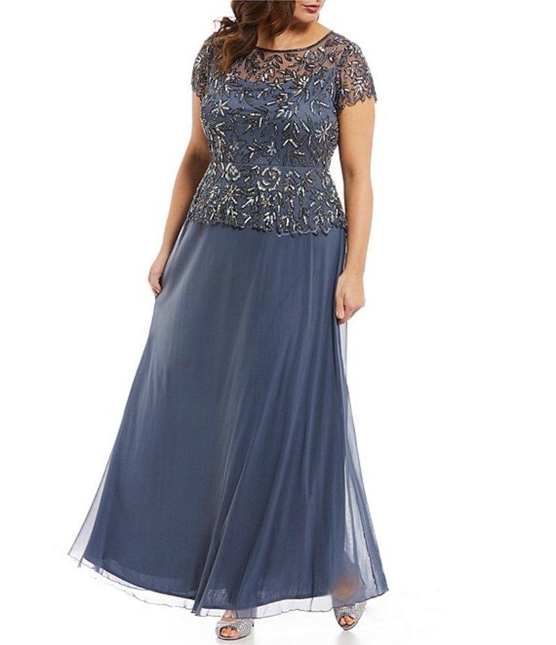 ピサッロナイツ レディース ワンピース トップス Plus Size Floral Beaded Mock 2-Piece Gown Grey