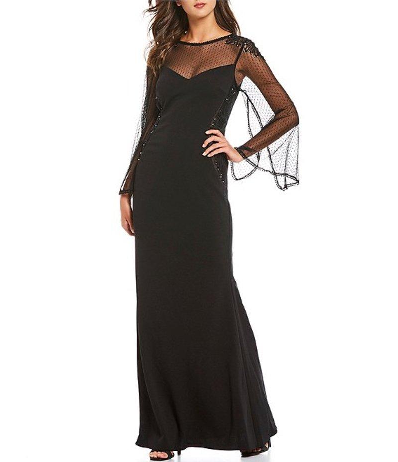 アドリアナ パペル レディース ワンピース トップス Illusion Split Bell Sleeve Embellished Crepe Gown Black/Nude