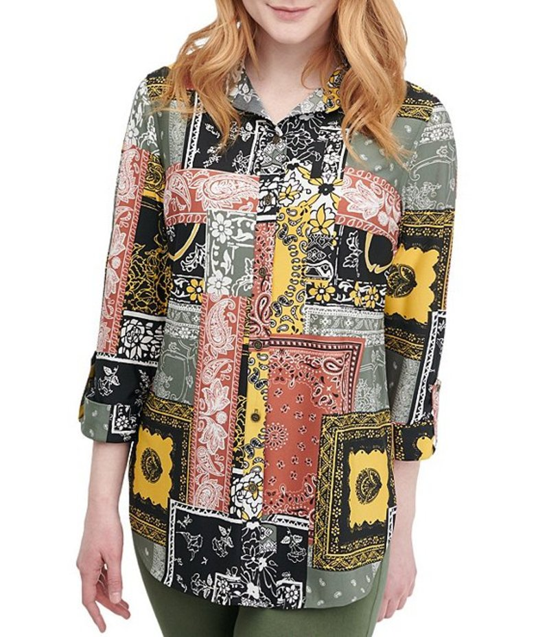 ピーター ナイガード レディース シャツ トップス Patchwork Print Knit Chiffon Roll Cuff Button Front Shirt Spiced/Patchwork