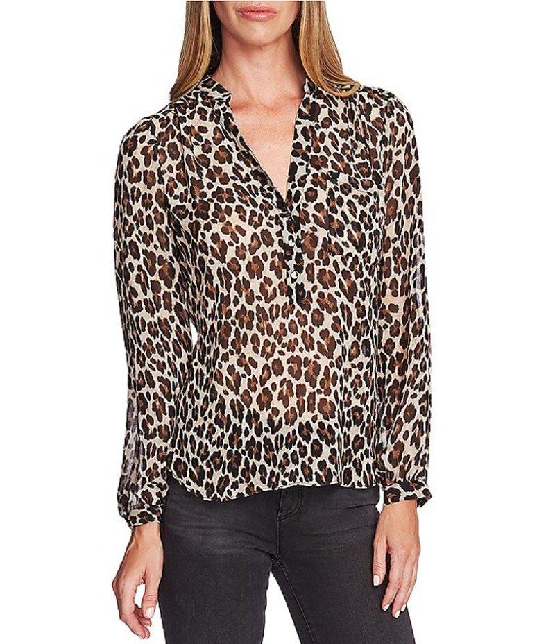 ヴィンスカムート レディース シャツ トップス Long Sleeve Buttoned Chiffon Leopard Print Blouse Rich Black
