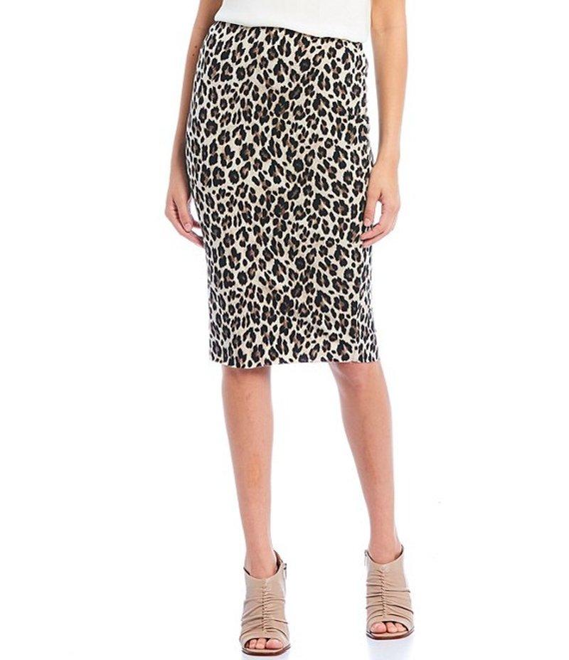 ヴィンスカムート レディース スカート ボトムス Leopard Print Pull-On Midi Pencil Skirt Rich Black