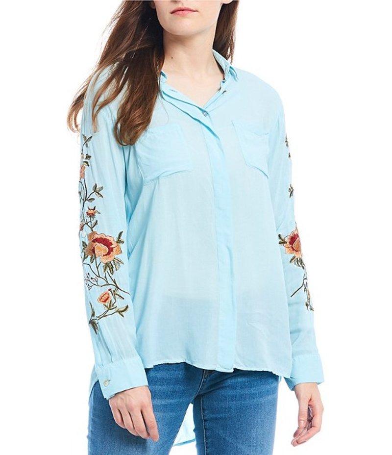レバ レディース シャツ トップス Floral Embroidered Sleeve Hi-Low Button Front Shirt Dusty Turquoise