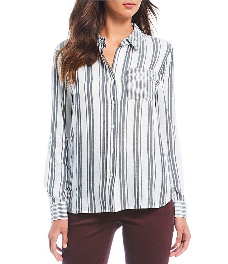 ウエストバウンド レディース シャツ トップス Striped One-Pocket Button Front Cotton Shirt Cream/Black