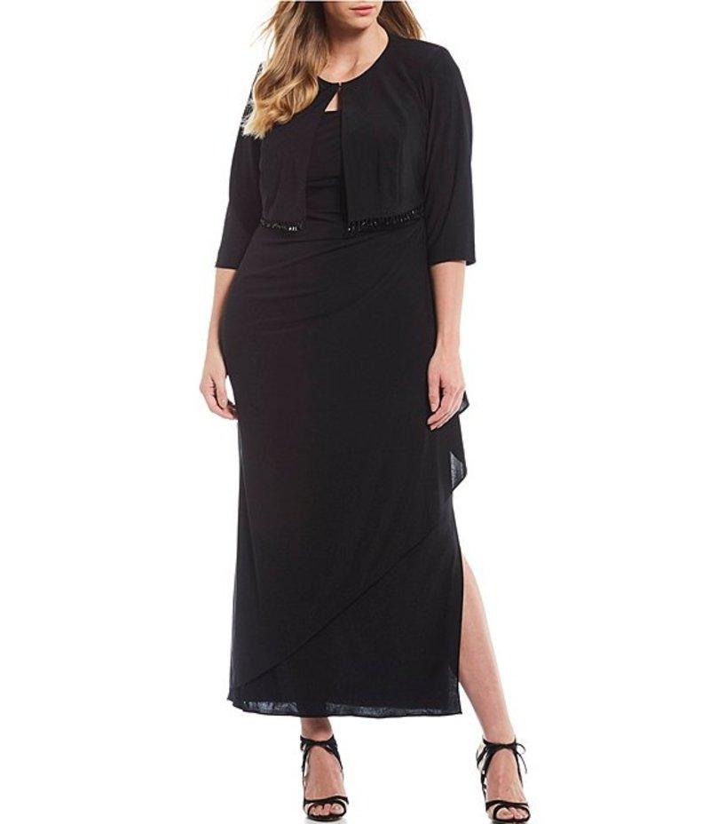 アレックスイブニングス レディース ワンピース トップス Plus Size Stretch Matte Jersey Beaded Fringe Bolero Jacket Long Side Slit Dress Black