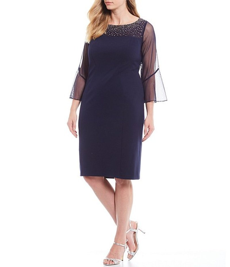 アレックスイブニングス レディース ワンピース トップス Plus Size Stretch Crepe Embellished Illusion Neck Sheath Dress Navy/Silver