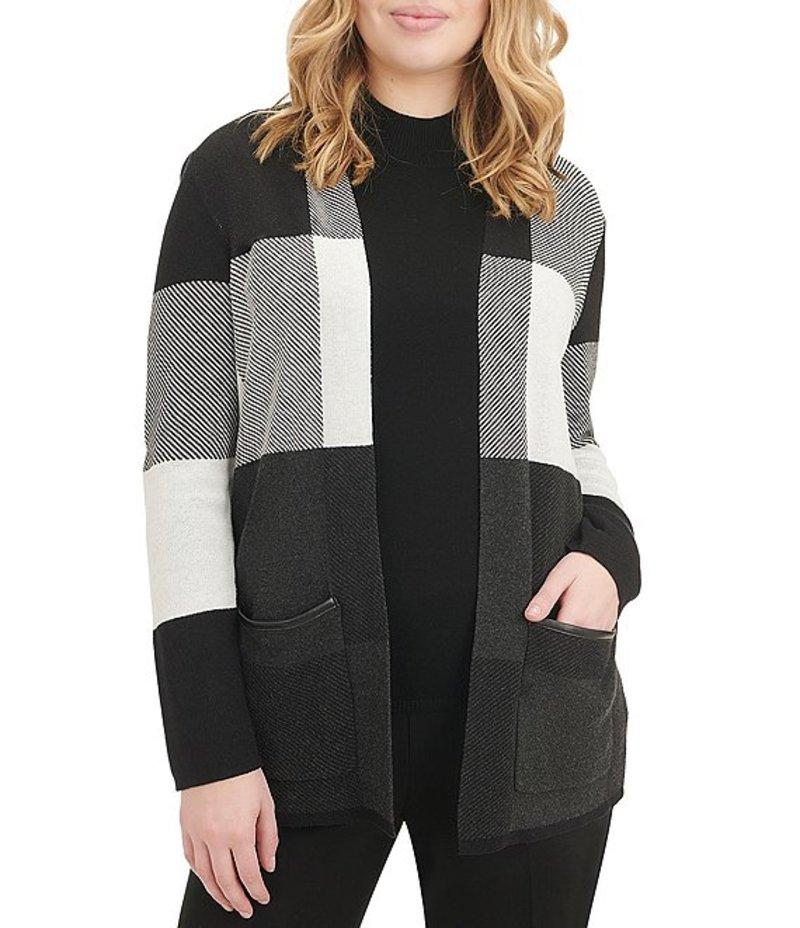 アリソン デイリー レディース カーディガン アウター Petite Size Colorblock Open Front Cardigan Black/Grey Block