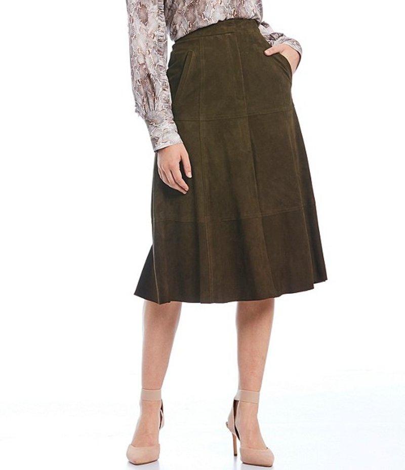 アントニオ メラーニ レディース スカート ボトムス Luxury Collection Alex Genuine Suede A-Line Midi Skirt Green