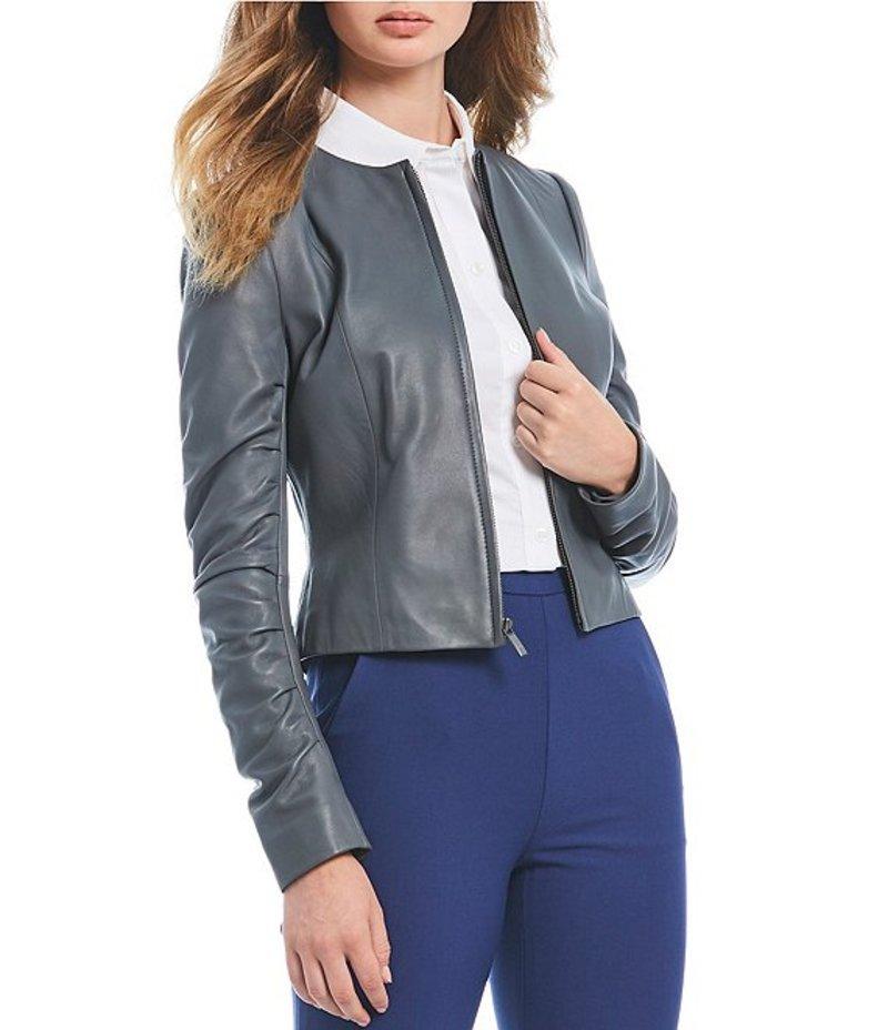 アントニオ メラーニ レディース ジャケット・ブルゾン アウター Luxury Collection Elise Genuine Leather Zip Front Jacket Storm