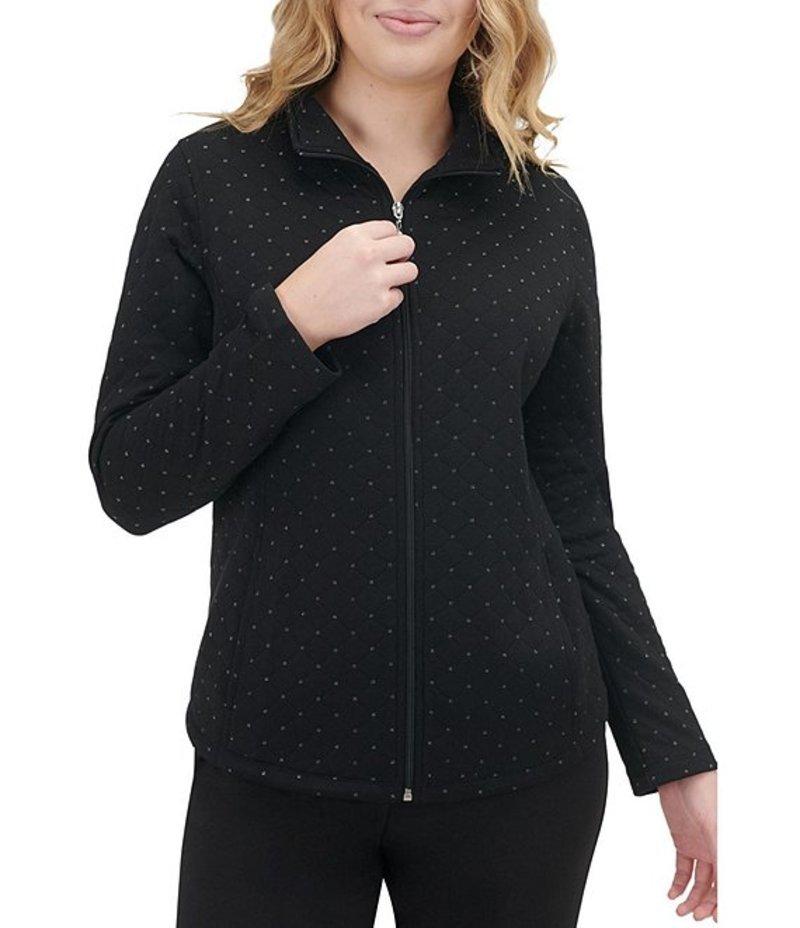 アリソン デイリー レディース ジャケット・ブルゾン アウター Petite Size Metallic Detail Zip Front Lurex Diamond Quilted Jacket Black
