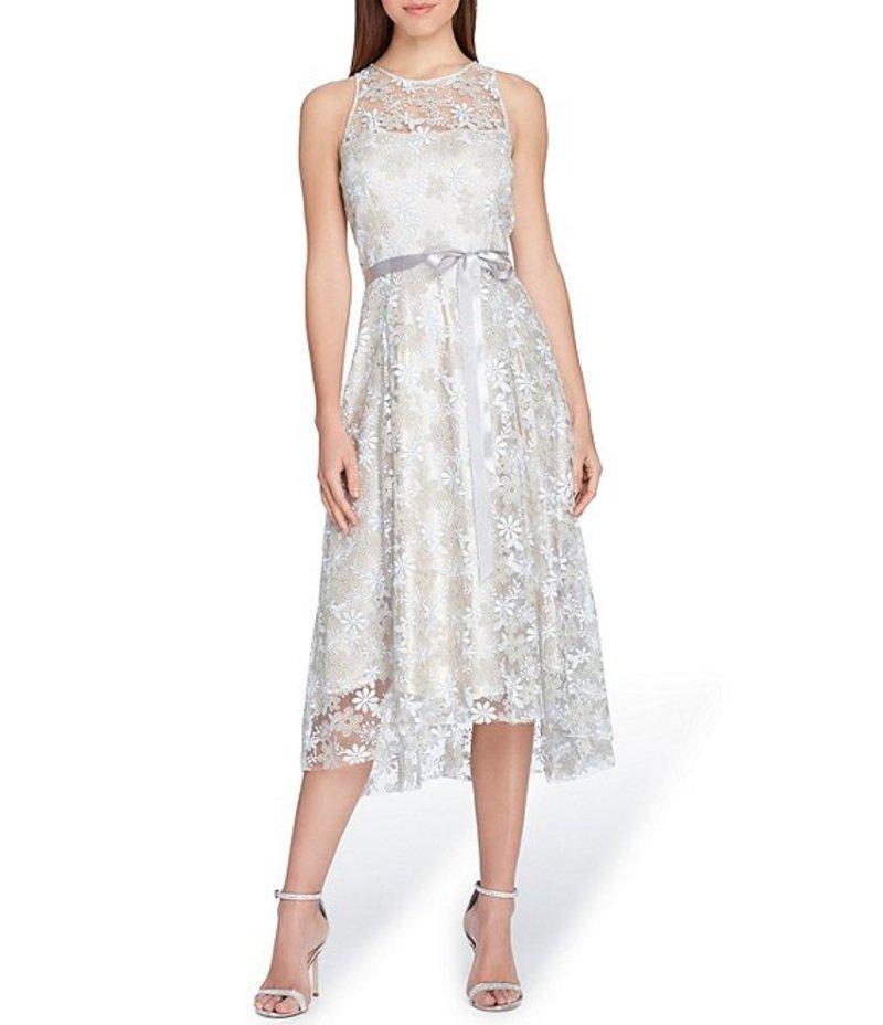 タハリエーエスエル レディース ワンピース トップス Embroidered Fit & Flare Dress Silver Champagne