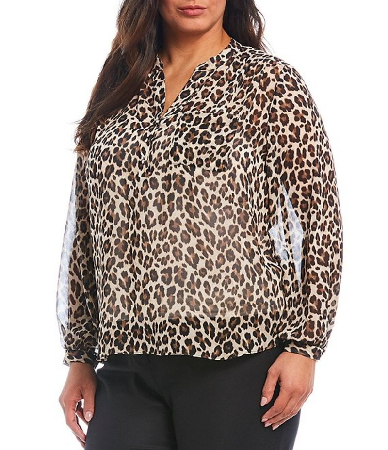 ヴィンスカムート レディース シャツ トップス Plus Size Long Sleeve Buttoned Chiffon Leopard Print Blouse Rich Black