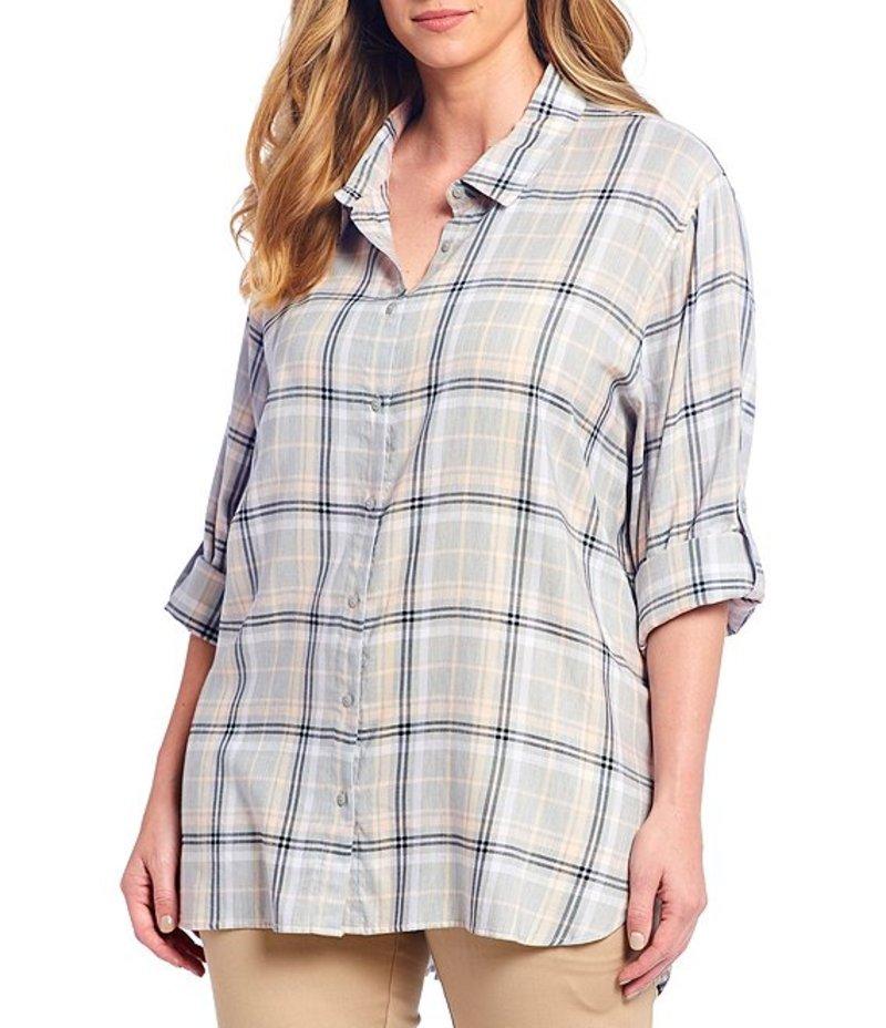 カルバンクライン レディース シャツ トップス Plus Size Plaid Print Roll-Sleeve Hi-Low Hem Boyfriend Shirt Grey Plaid