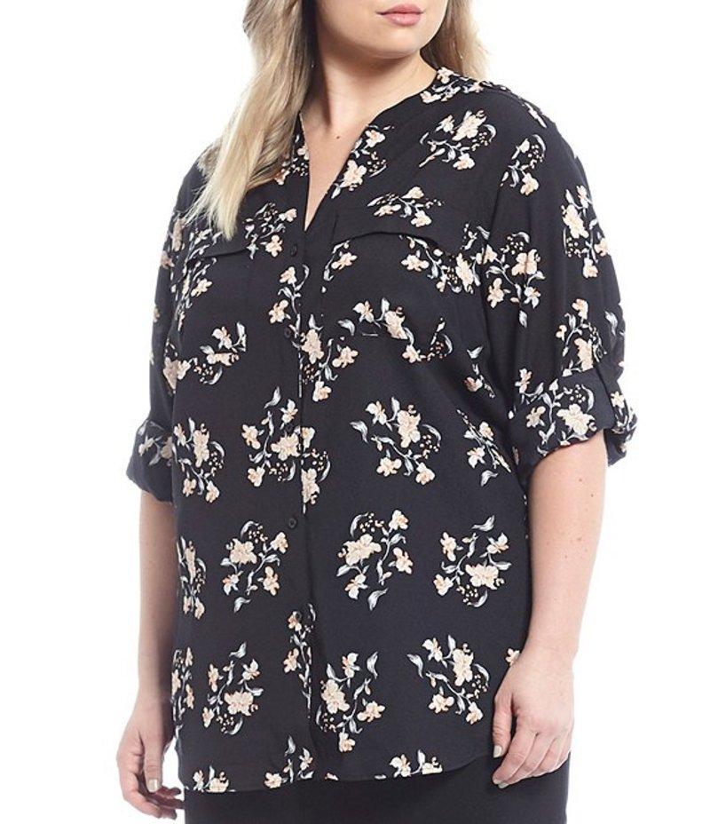 カルバンクライン レディース カットソー トップス Plus Size Floral Print Roll-Tab Sleeve Button Front Top Black/Multi