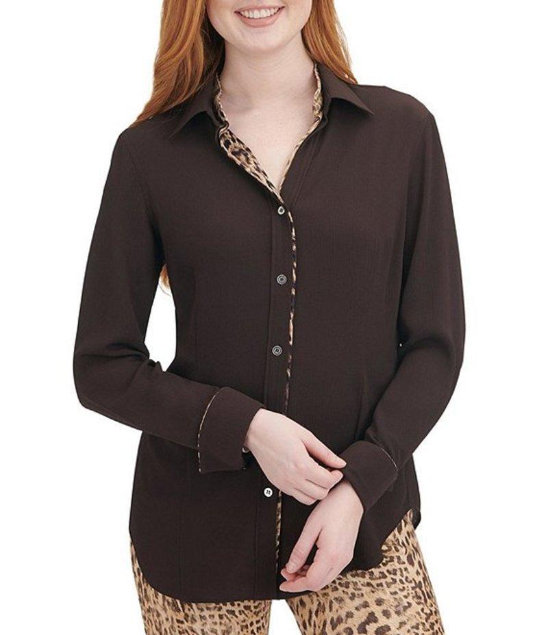 ピーター ナイガード レディース シャツ トップス Stretch Pebble Crepe Long Sleeve Leopard Print Trim Shirt Coffee
