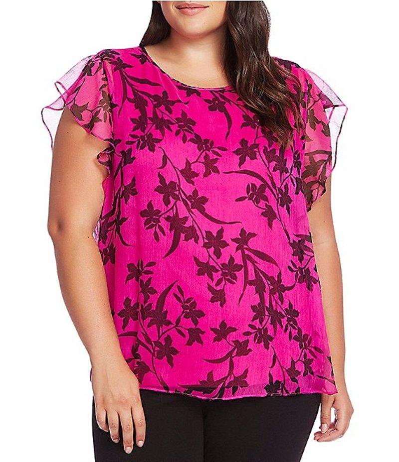 ヴィンスカムート レディース シャツ トップス Plus Size Flutter Sleeve Floral Print Overlay Blouse Pink Shock