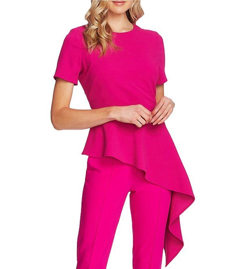 ヴィンスカムート レディース シャツ トップス Short Sleeve Crepe Ponte Asymmetrical Peplum Blouse Pink Shock