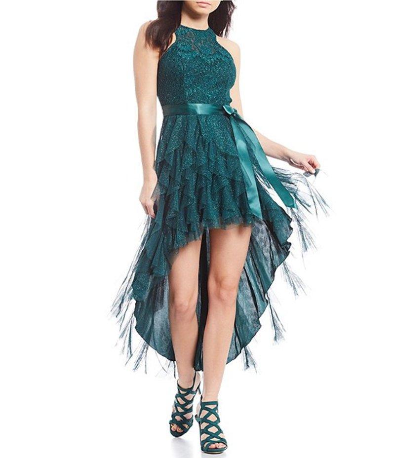 ティーズミー レディース ハーフパンツ・ショーツ ボトムス Glitter Lace Corkscrew High-Low Dress Emerald