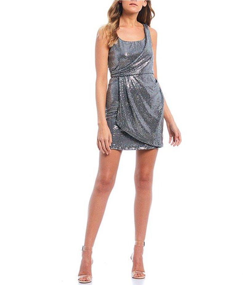ジャンプ レディース ワンピース トップス One Shoulder Metallic Wrap Dress Silver