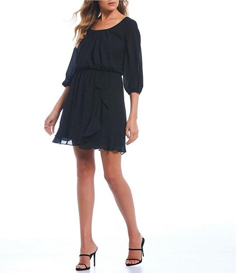 I.N.サンフランシスコ レディース ワンピース トップス Scoop Neck Flounce Hem Dress Black