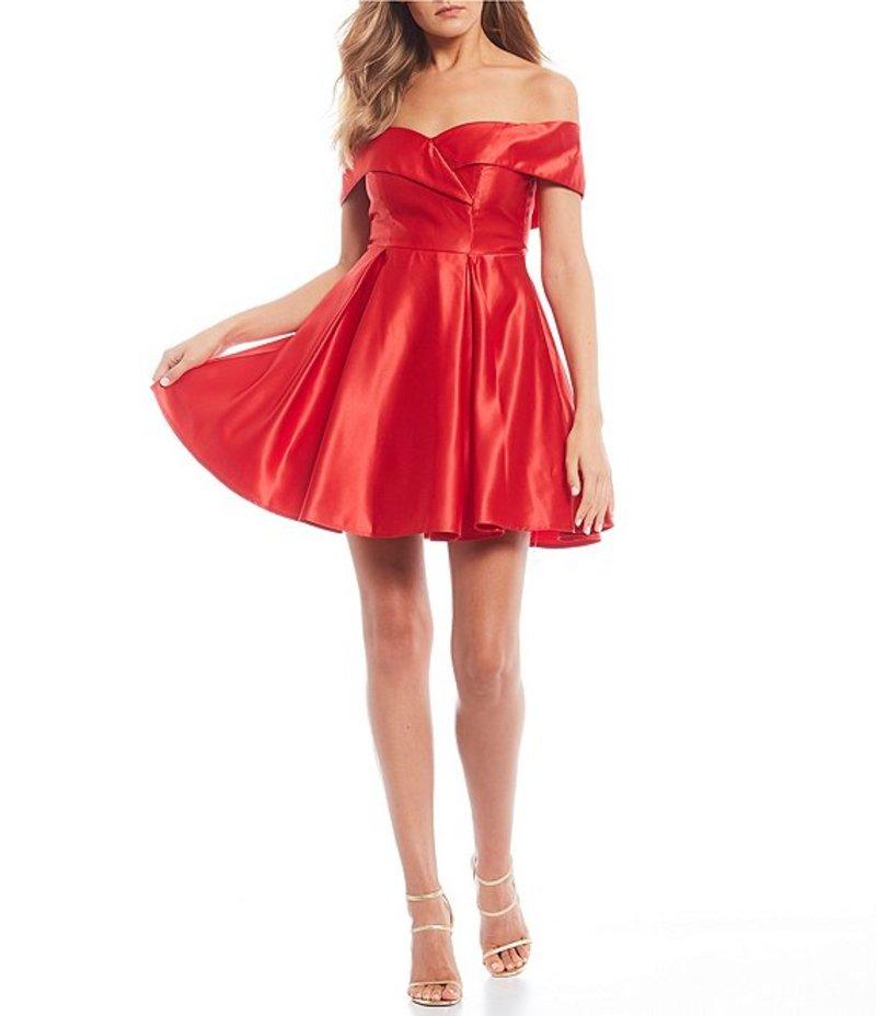 ビーダーリン レディース ワンピース トップス Off-the-Shoulder Satin Fit & Flare Dress Red