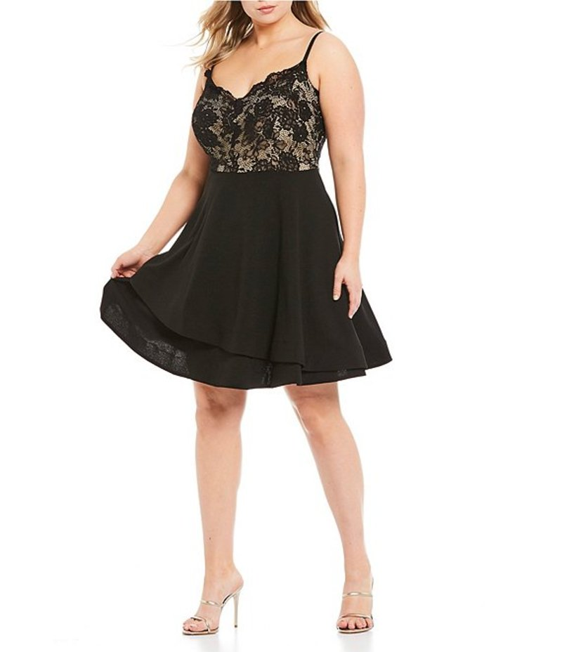 ビーダーリン レディース ワンピース トップス Plus Spaghetti Strap Lace Bodice Fit & Flare Dress Black/Nude