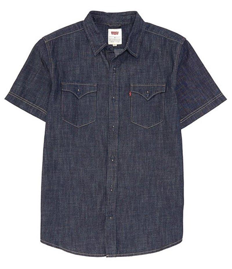 リーバイス メンズ シャツ トップス Levi'sR Short-Sleeve Nevin 6.5oz Denim Shirt Dark Rinse