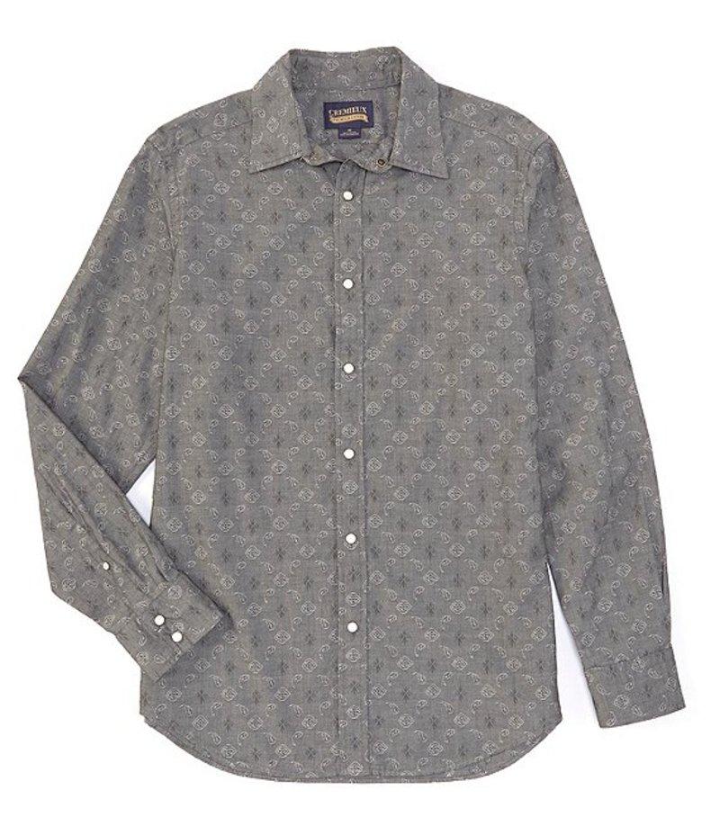 ダニエル クレミュ メンズ シャツ トップス Jeans Printed Long-Sleeve Woven Snap-Front Shirt Black