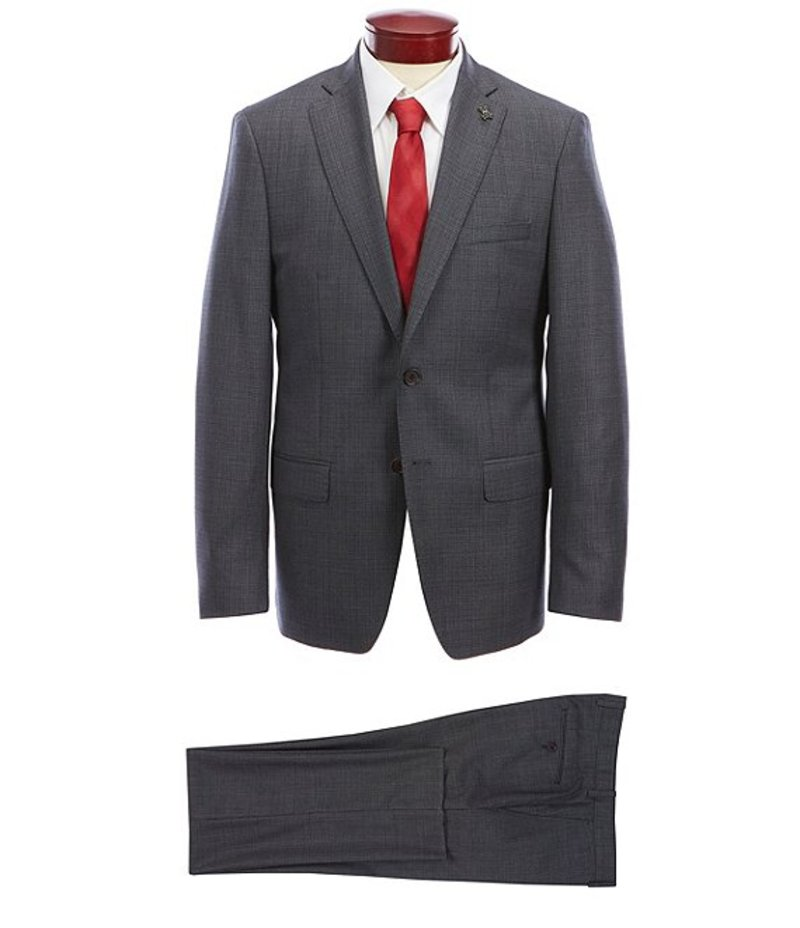 サイコバニー メンズ ジャケット・ブルゾン アウター Slim Fit Birdseye Wool Suit Grey