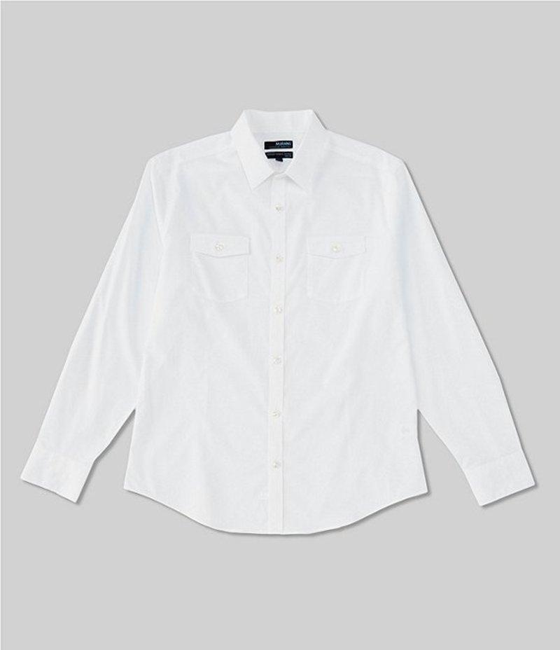 ムラノ メンズ シャツ トップス Wardrobe Essentials Slim-Fit Solid Dual-Pocket Long-Sleeve Woven Shirt White