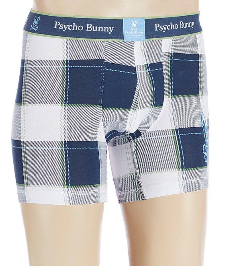 サイコバニー メンズ ボクサーパンツ アンダーウェア Odyssey Plaid Knit Boxer Briefs Odyssey White