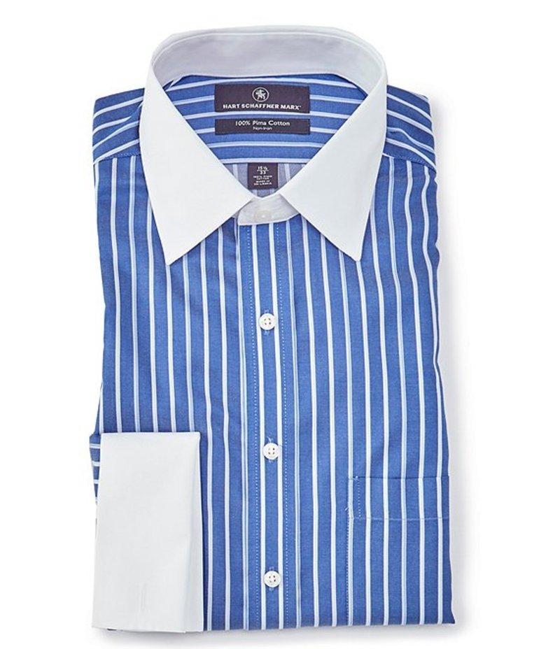 ハート シャフナー マルクス メンズ シャツ トップス Non-Iron Classic Fit Spread Collar Striped Dress Shirt With French Cuffs Blue