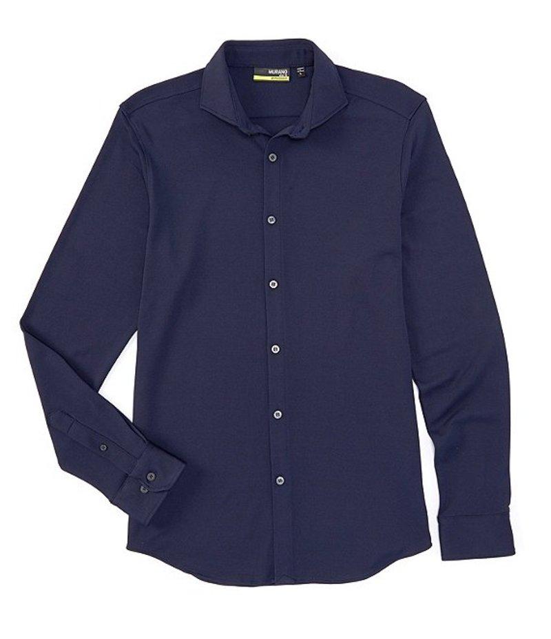 ムラノ メンズ シャツ トップス Slim-Fit Performance Pique Long-Sleeve Woven Shirt Navy