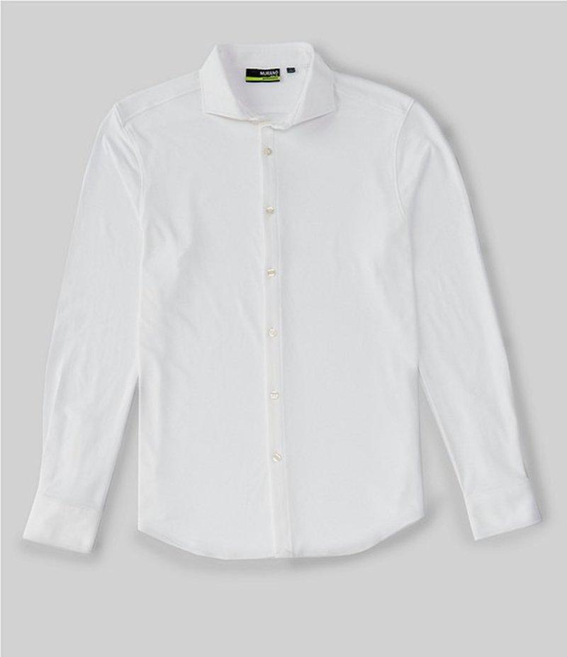 ムラノ メンズ シャツ トップス Slim-Fit Performance Pique Long-Sleeve Woven Shirt White