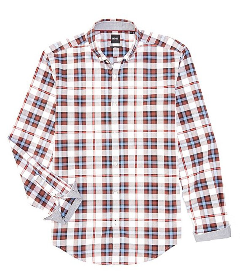 ヒューゴボス メンズ シャツ トップス BOSS Slim-Fit Rikard Plaid Long-Sleeve Woven Shirt Dark Red