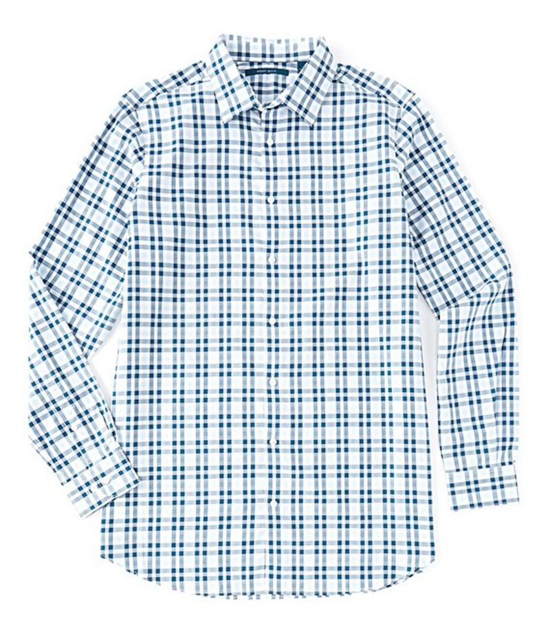 ペリーエリス メンズ シャツ トップス Big & Tall Multi-Color Check Stain-Resistant Water-Repellent Long-Sleeve Woven Shirt Cerulean
