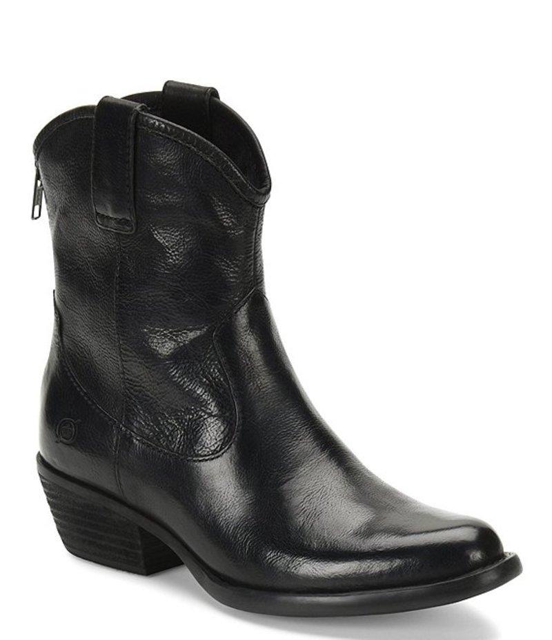 ボーン レディース ブーツ・レインブーツ シューズ Wynd Leather Western Block Heel Booties Black