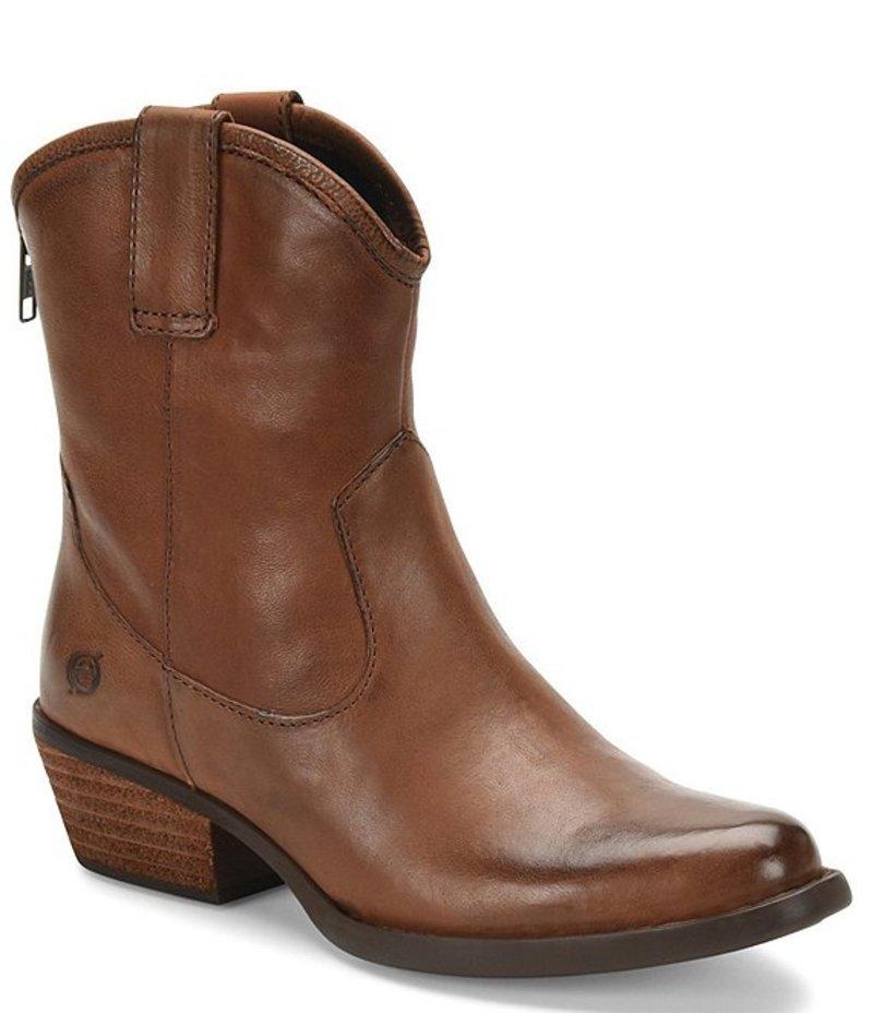 ボーン レディース ブーツ・レインブーツ シューズ Wynd Leather Western Block Heel Booties Brown