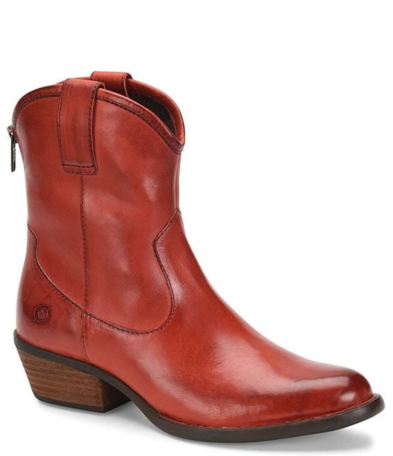 ボーン レディース ブーツ・レインブーツ シューズ Wynd Leather Western Block Heel Booties Red