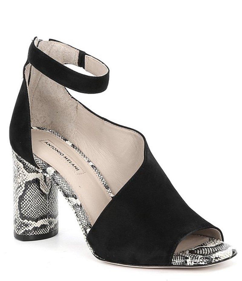 アントニオ メラーニ レディース ヒール シューズ Ehren Leather Snake Print Ankle Strap Block Heel Dress Pumps Black