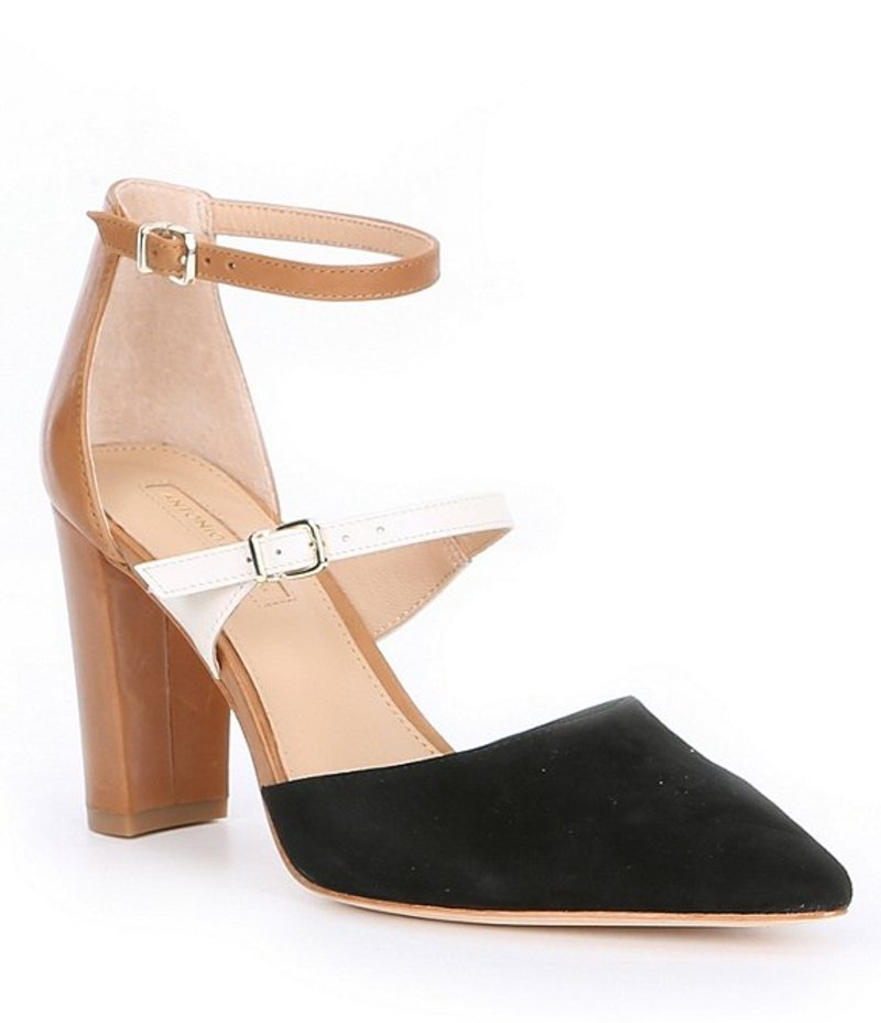 アントニオ メラーニ レディース ヒール シューズ Seriena Double Strap Suede & Leather Block Heel Pumps Black Multi