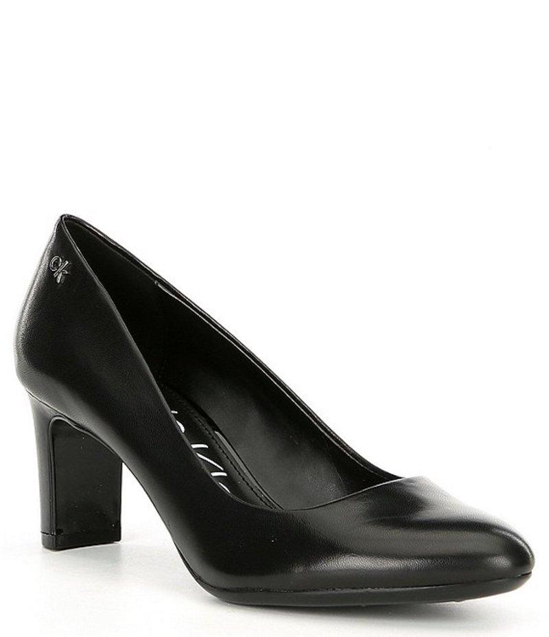 カルバンクライン レディース ヒール シューズ Oska Leather Block Heel Pumps Black