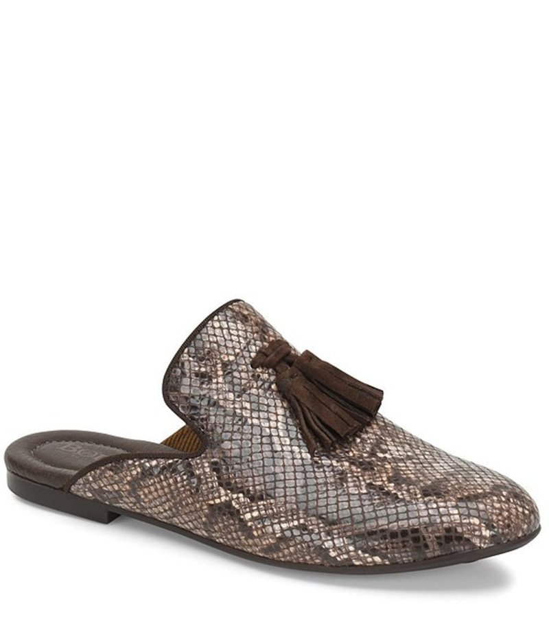 ボーン レディース サンダル シューズ Corrin Snake Print Tassel Slip On Mules Brown