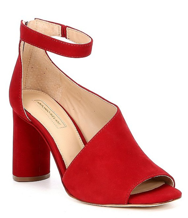 アントニオ メラーニ レディース ヒール シューズ Ehren Ankle Strap Block Heel Dress Pumps Red Rouge